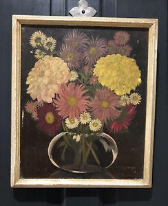 Vintage 1950's Original Framed Oil Painting Still Life Of Flowers - Signed