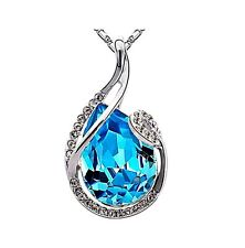 Superbe collier pendentif plaqué or cristal strass goutte bleu joaillerie neuf 3