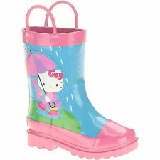NEW Hello Kitty Toddler Girls Rain Boots Pink Blue Rainbow Umbrella Size 7/8