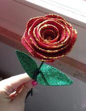 3 rose rosse glitterate, idea regalo matrimonio anniversario handmade, amore!