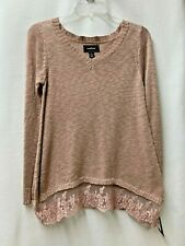 CONFESS $26 Pink Mauve Lightweight Long Sleeve Sweater w/ Lace Womens Sz Small S