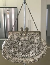 Vintage Silver Floral Small Evening Purse on a Short Chain