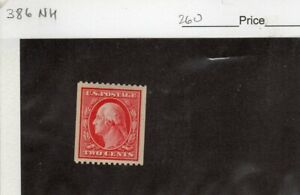 U.S # 386 Coil Single MNH   CV $260.00