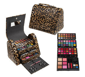 CAMEO LEOPARD LEATHER EYESHADOW LIP FACE MAKEUP COSMETIC  DELUXE TRAIN CASE KIT