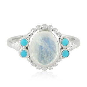 Natural Turquoise 2.28ct Moonstone Sterling Silver Handmade Ring Fashion Jewelry