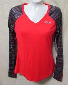 FILA SPORT~XS~Red Winter Long Sleeve V-Neck Shirt WF53A009RP