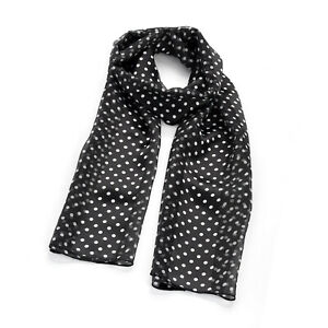 Ladies Womens Girls Fashion Scarf Black & White Polka Dot Satin Stripe Design