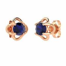 0.64 Ct Natural Sapphire Stud Earrings in Solid 14k Rose Gold