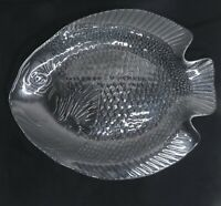 Vintage Fish Dinner Plates Arcoroc France Set of 2 Clear Glass 10 X 8