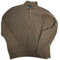 Davis & Squire Men's 100% Cashmere Brown Cable Knit Sweater Size M
