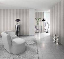 New Rasch Silver and White Wide Stripe Wallpaper 286632