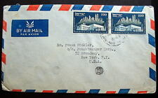 ISRAEL COVER PAIR STAMPS CANCEL TEL AVIV 1952 TO USA