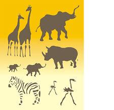 Stencil, Wandschablonen, Malerschablone, Schablone, Wandschablone, Tiere Afrikas