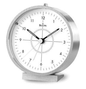 Bulova Flair Quartz Aluminum Beep Alarm Desk Clock B6844