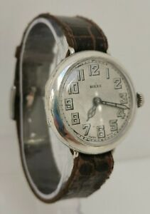 Vtg 1929 Rolex 33mm Solid Sterling Silver Trench Style Gents Wrist Watch Aegler