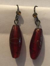 New ListingVintage Cranberry Art Glass Bead Drop Earrings Sku117126P