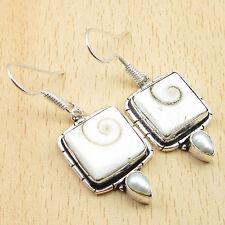 """Indian SHIVA EYE & PEARL Earrings, 925 Silver Overlay HOOK Jewelry 1.5"""""""