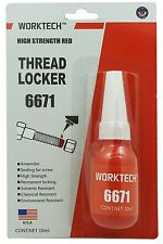 WorkTech Premium Thread Locker Red - High Strength, Bolt/Nut Professional Class
