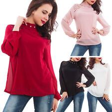 Blusa donna velata collo alto perle ruches pizzo tunica sexy maglia WD-2261