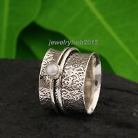 Pearl Stone Solid 925 Sterling Silver Spinner Ring Meditation Ring Size vv03142