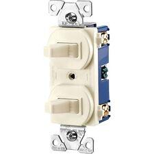 15 Amp Single Pole 2 Toggle Switch - Back & Side Wiring - Light Almond