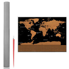 Travel Tracker Scratch Off World Map Poster with US States and Country Flags