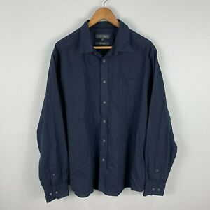 Marks Spencer Mens Button Up Shirt XL Extra Large Navy Blue Long Sleeve Collared