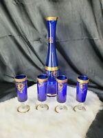 Vintage cobalt blue glass carafe & 4 tumblers set gold accent floral red gems