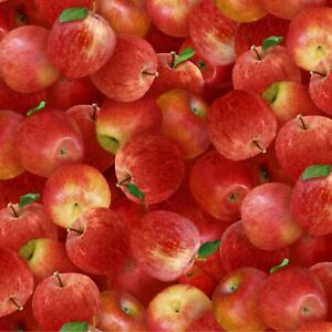 Apple Fabric, BTY, Red Apples, Elizabeth's Studio, 260E-RED, TheFabricEdge
