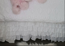 Hamptons Frilly White Chic French Ruffle 6 Tiers Petticoat King Bed Skirt New