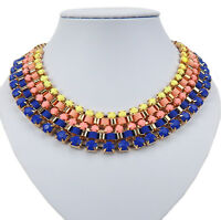 Ella Jonte Kette gold blau gelb Halskette mit bunten Steinen und Textilbändern -