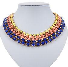Collar Oro Azul Amarillo CON de colores Piedras y textilbändern Ella Jonte