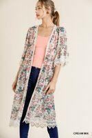 Umgee Floral Crochet Lace Trim Open Front Duster Kimono Size S M L