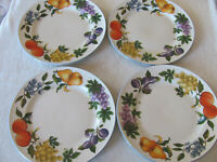 Tabletops Unlimited- Essence-Fruit Border, Blue Trim - Set of 4 Dinner Plates