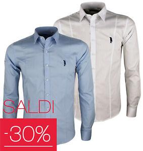 Camicia uomo slim fit cotone manica lunga elasticizzata blu celeste bianco nero