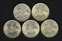 Australia 1966 50c Silver - Fifty Cents x 5 Coins..   gEF-UNC - All with Lustre