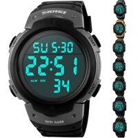 SKMEI Waterproof Men's Boy LED Silicone Digital Stopwatch Date Sport Wrist Watch