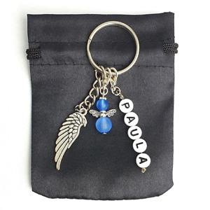 Schlüsselanhänger Schutzengel Perlenengel Wunschname Flügel Geschenkidee