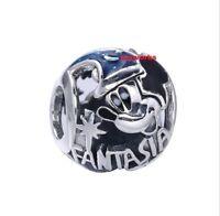 925 Sterling Silver Sorcerer Mickey Fantasia Bead Fit European Charm Bracelet