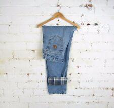"Carhartt Mens Blanket Lined Denim Straight Leg Jeans Workwear Trousers 36""x32"""