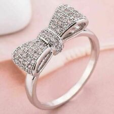 Women Fashion Silver Plated White Sapphire Bow Ring Wedding Jewelry Size 7