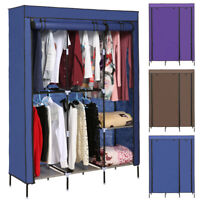 "68"" Portable Clothes Closet Wardrobe Double Rod Closet Storage Organizer Shelf"