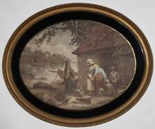 Antica stampa-George Morland Pescatore's Hut IN OVALE FRAME C 1800 [ pl941 ]
