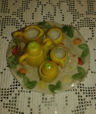Mini Servizio da Thè decorato con i frutti in rilievo - DA COLLEZIONE -