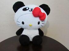 "Sanrio HELLO KITTY BLACK & WHITE PANDA COSTUMES 8"" Plush Stuffed Animal"