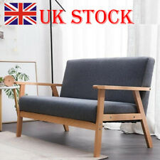 Modern 2 Seater Sofa Armchair Loveseat Fabric Linen Seat Wooden Frame Deep Grey