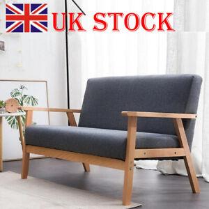 Modern 2 Seater Sofa Armchair Loveseat Fabric Linen Seat Wooden Frame Deep Grey