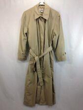 VTG LL Bean Rain Coat Jacket Womens Medium Tan Beige Trench Belted USA