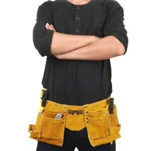 Electrician Cowhide Waist Pocket Belt Carpenter Hardware Tool Pouch Adjustable