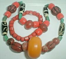 Vintage Art Necklace African Trade Beads~Turquoise~Buttersco tch Amber Drop see!